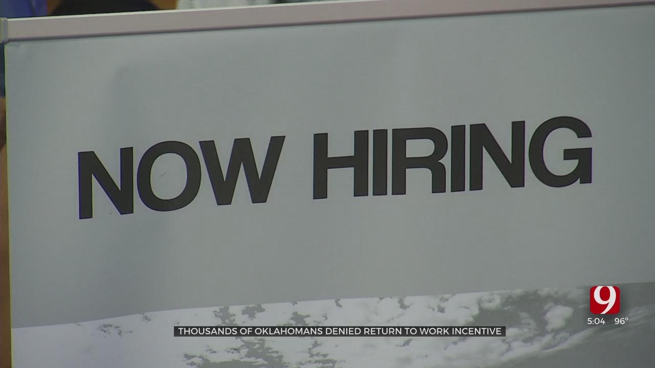 Hundreds Of Oklahomans Denied State's Return To Work Incentive