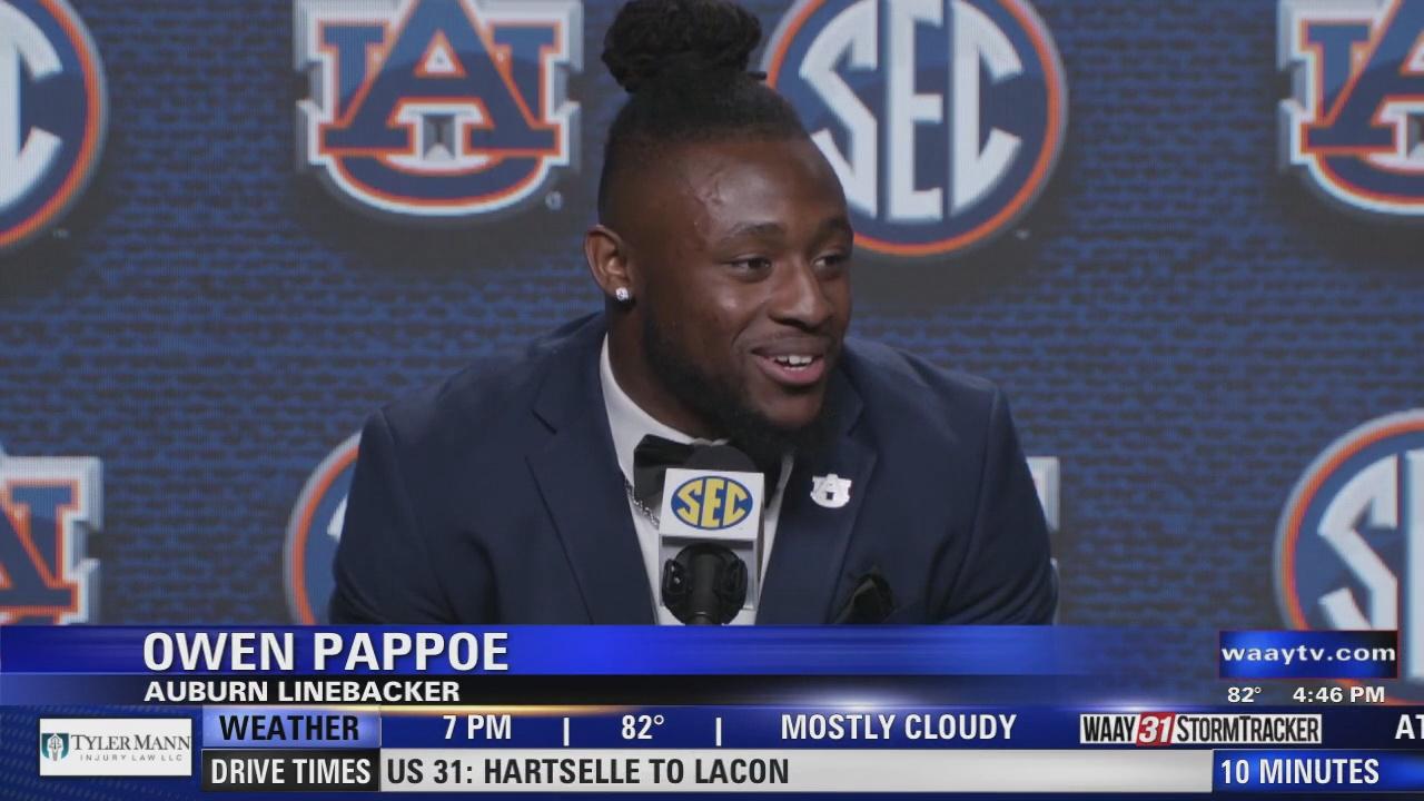 Image for Auburn Linebacker Owen Pappoe speaks at SEC Media Day