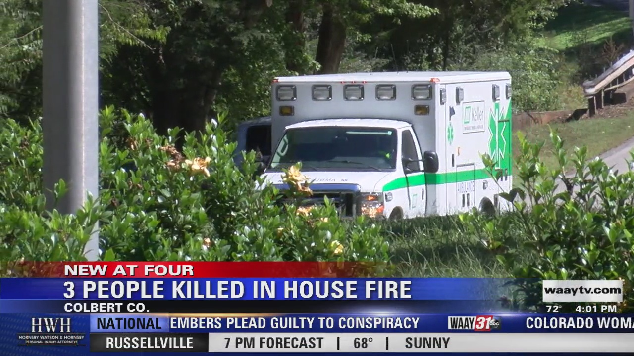 Image for 3-year-old, parents killed in Colbert County house fire