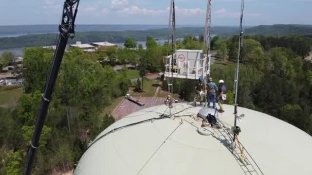Image for VIDEO:  Installing the WAAY 31 StormTracker Early Warning Radar Network in Guntersville