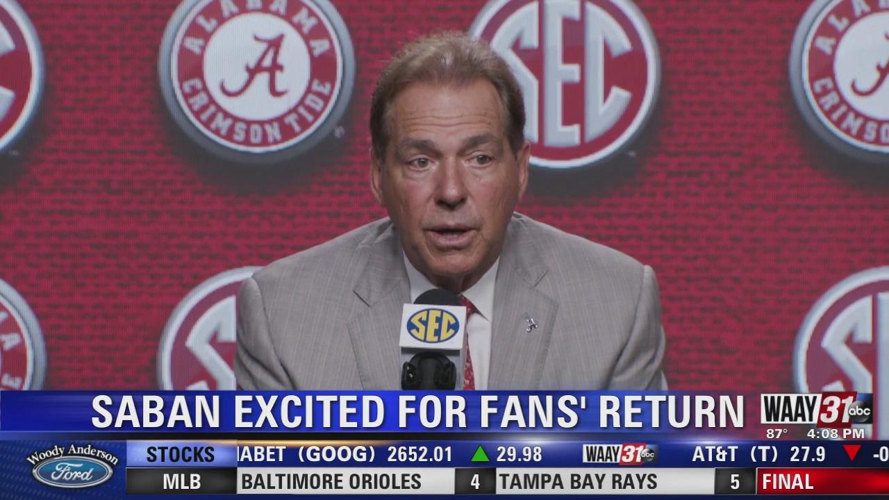 Image for Alabama Coach Nick Saban ready to see fans back at football games