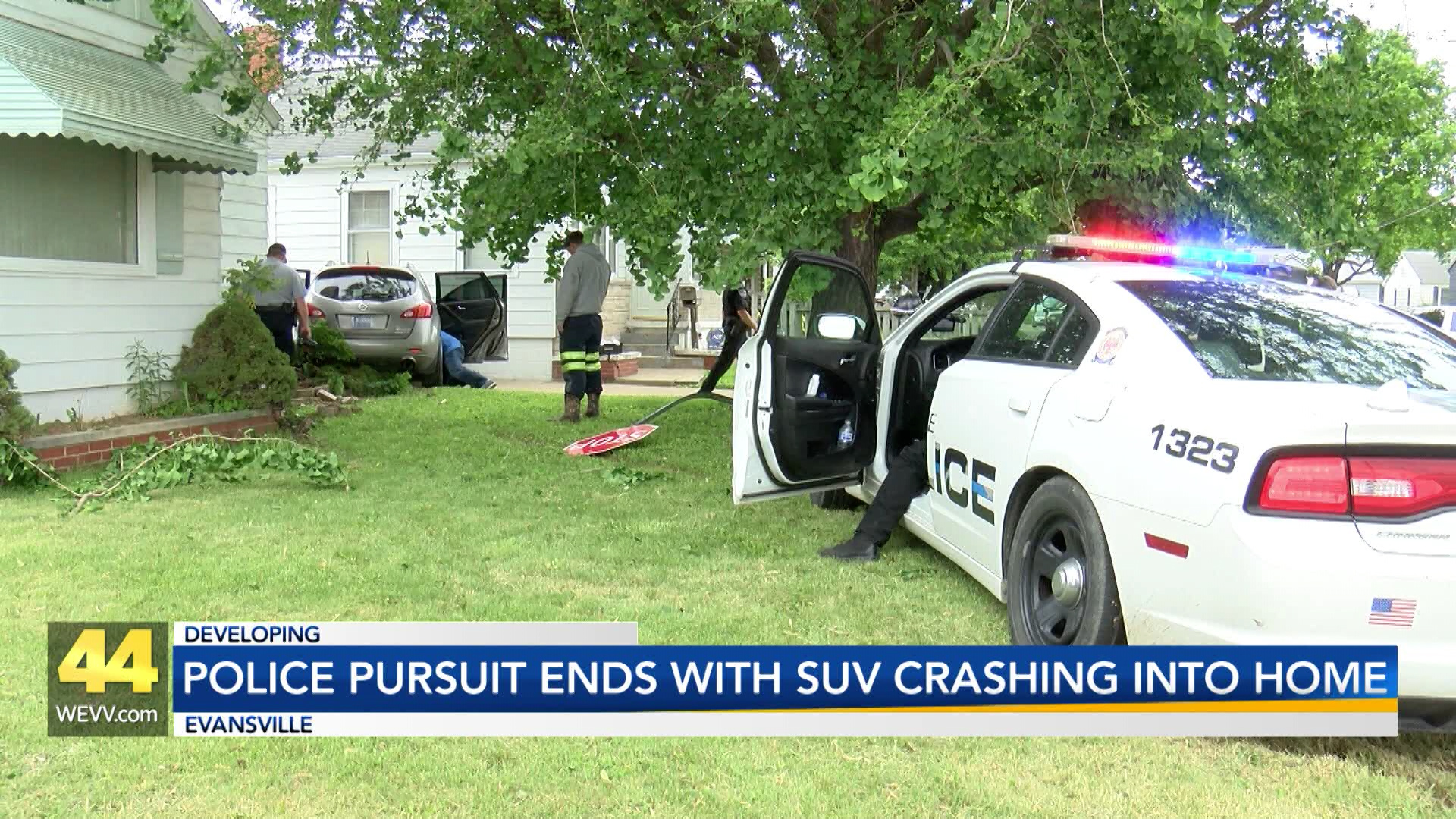 Image for Police Pursuit Ends with SUV Crashing Into Home