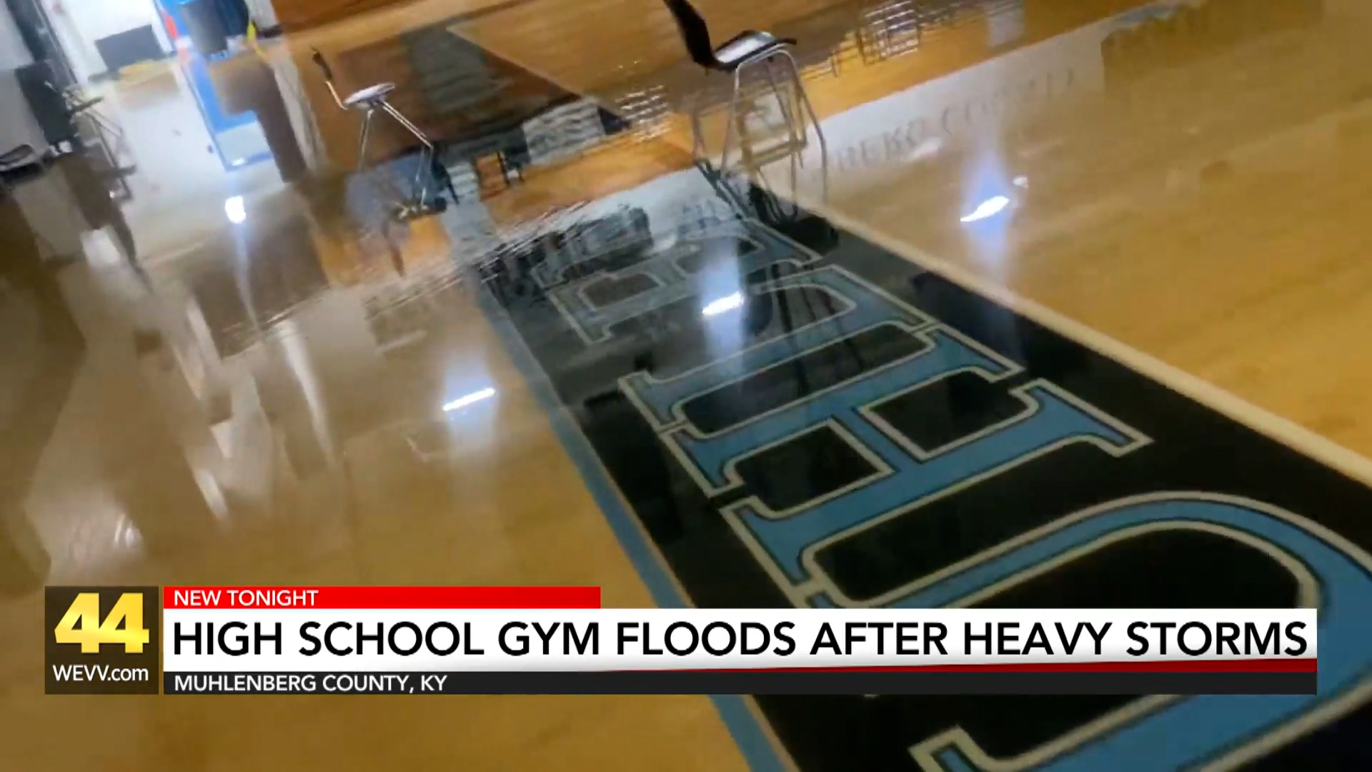 Image for High School Gym Floods After Heavy Storms