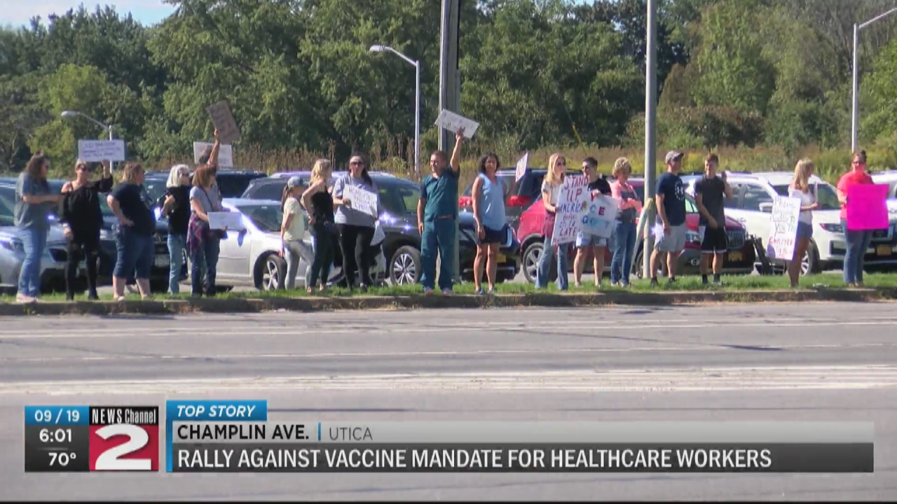 Image for With vaccine deadline looming, healthcare workers gather in protest