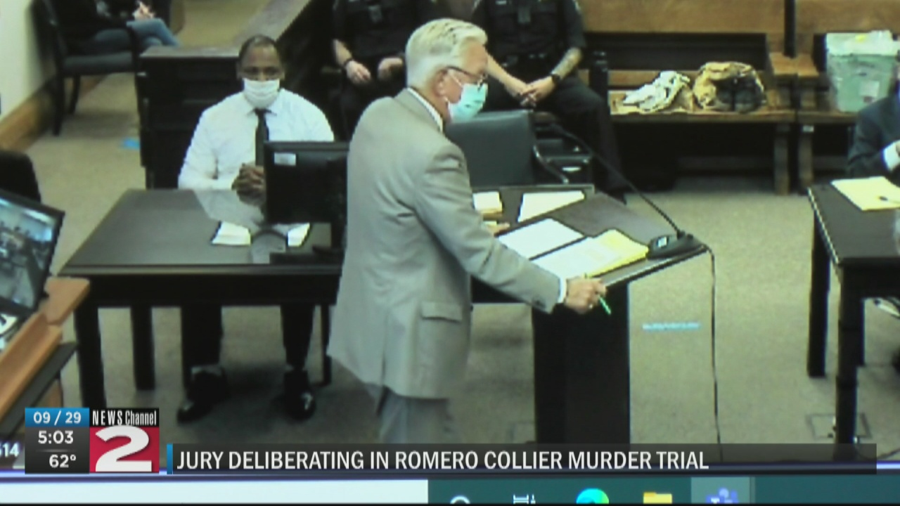 Image for Jury deliberating fate of accused murderer, Romero Collier