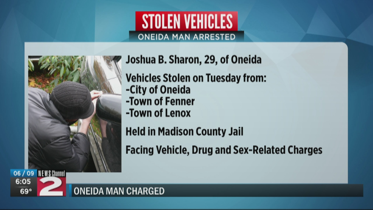 Image for Oneida man accused of stealing multiple cars in Madison County