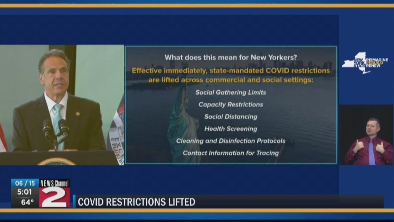 Image for New York lifts COVID-19 restrictions as state reaches 70% vaccination rate