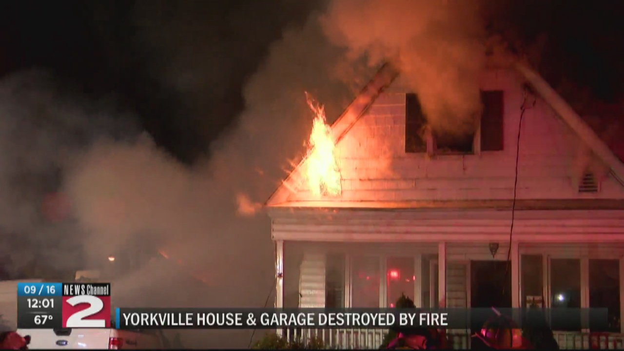 Image for Garage fire spreads to house, destroying both, in Yorkville