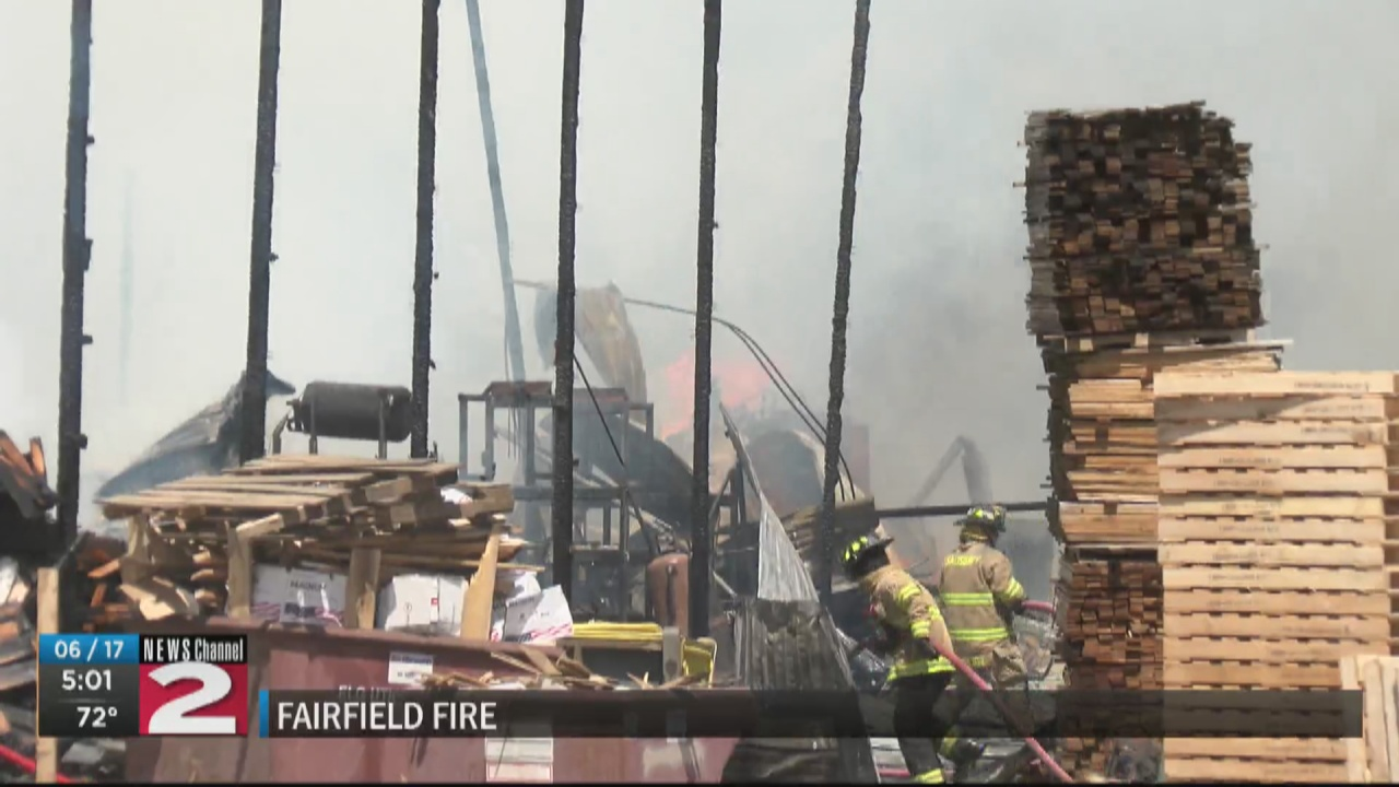 Image for Several crews called to fight fire at pallet shop in Fairfield