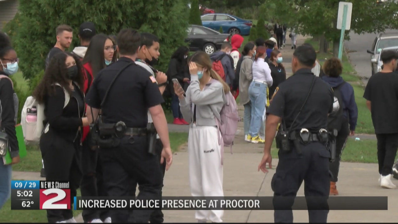 Image for Fights, unfounded shooting rumor lead to large police presence at Proctor High School