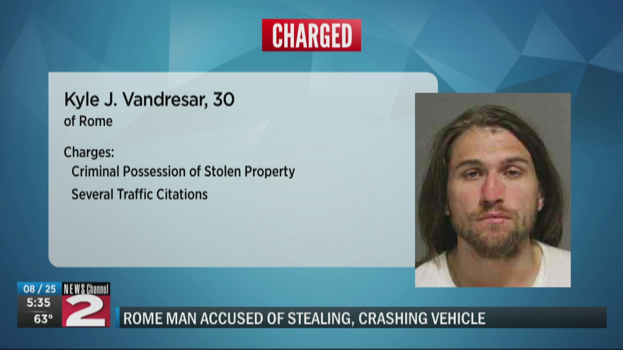 Image for Rome man accused of stealing vehicle, then crashing it minutes later