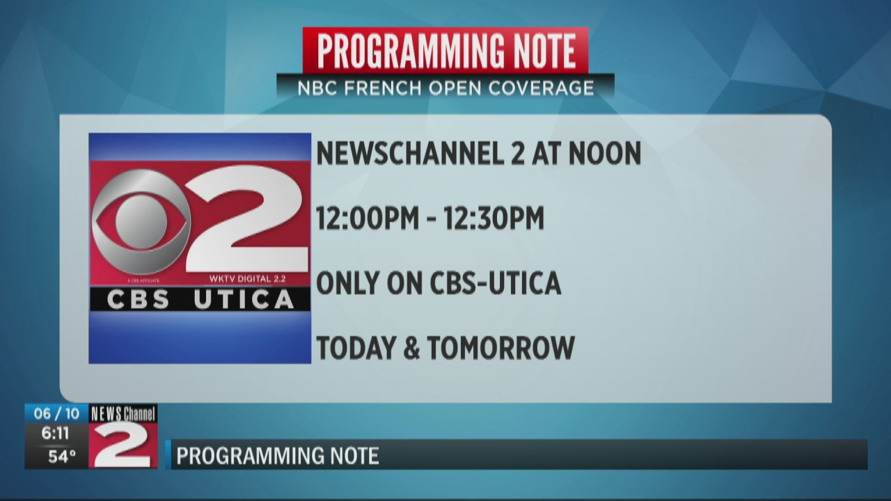 Image for Reminder: NEWSChannel 2 at Noon on CBS Utica only due to French Open coverage