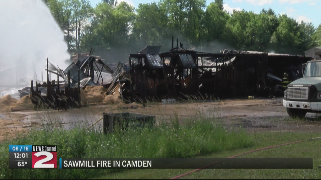 Image for Fire breaks out at Camden sawmill; one building destroyed