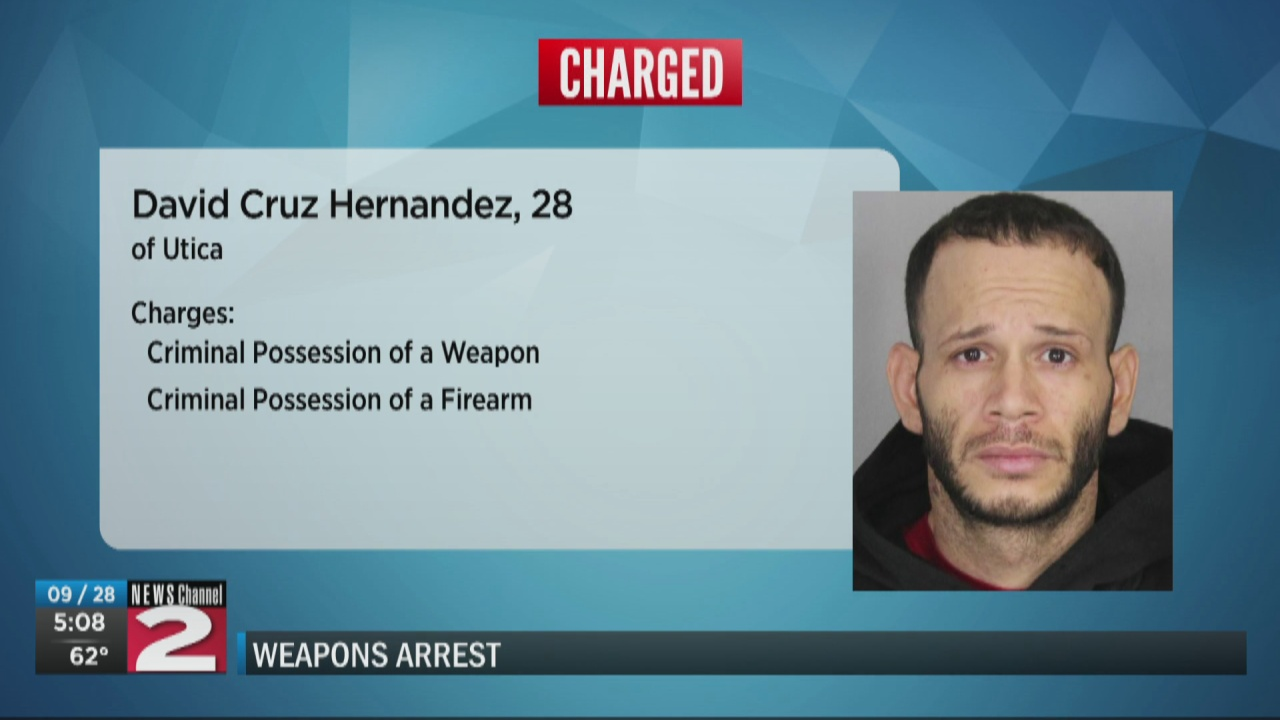 Image for Suspect arrested after trying to hide loaded gun from police during traffic stop in Utica