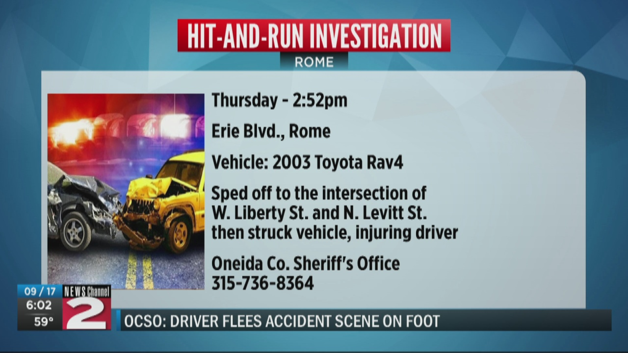Image for Authorities searching for driver who fled scene of crash in Rome