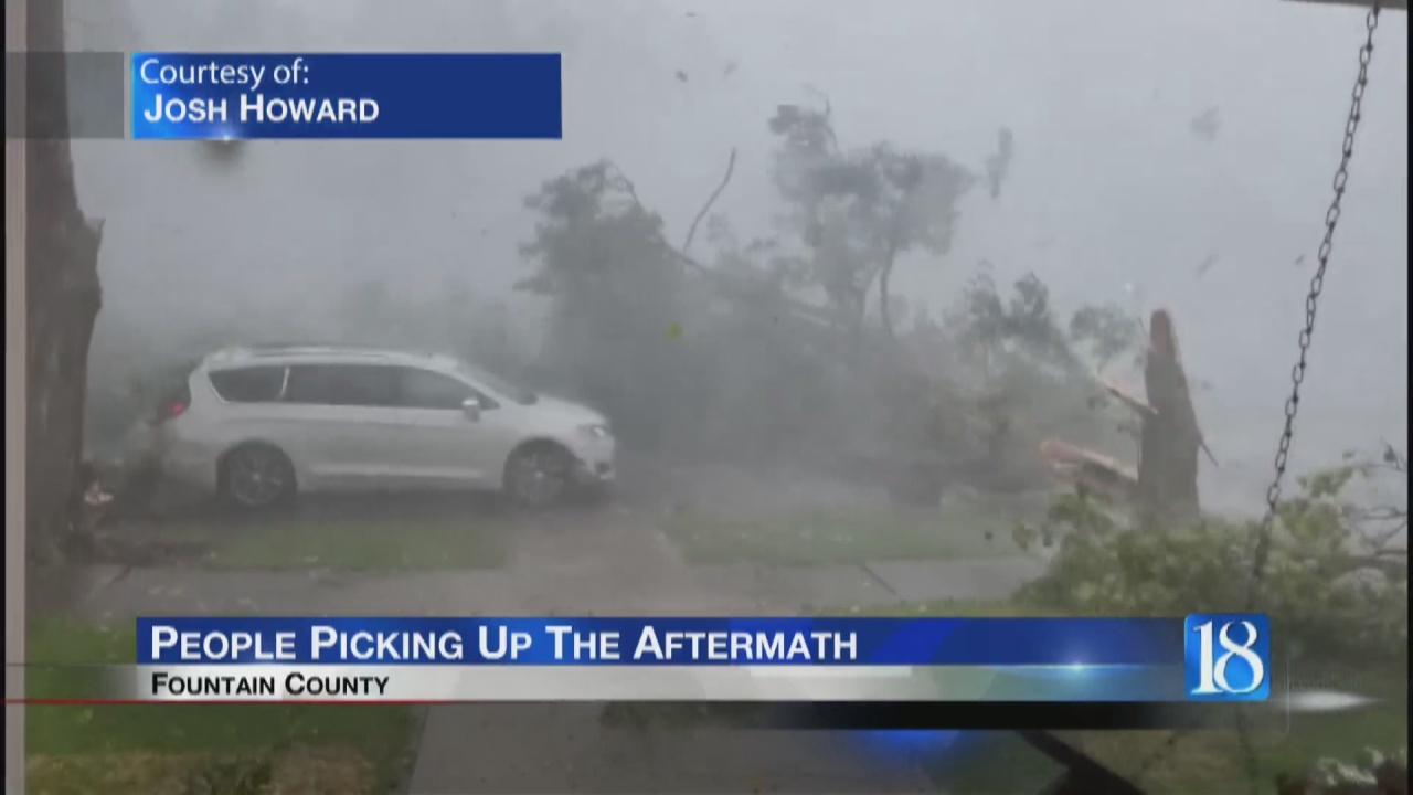 Image for People in Attica clean up aftermath of severe storm