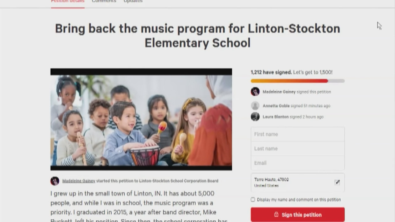Image for Petition to bring back Linton-Stockton Elementary's music program gains attention