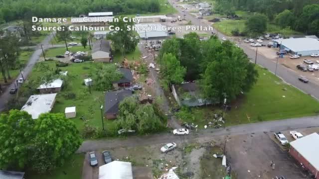 Image for VIDEO: Calhoun County sheriff provides drone video of tornado damage in Calhoun City